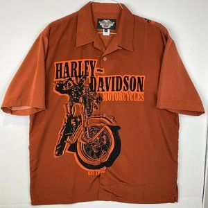 Harley Davidson Mens XL Button Down Motorcycle S/S